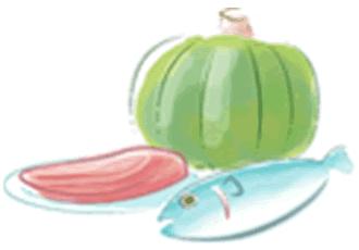 タンパク質や鉄分を多く含む食材のイラスト