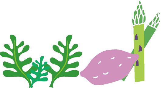 海藻と芋とアスパラ