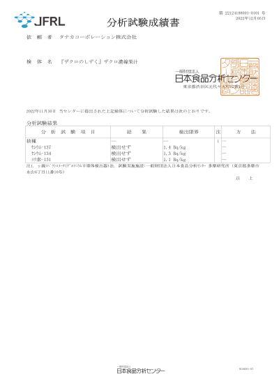 ザクロのしずく(石榴の滴)の放射性物質の分析結果