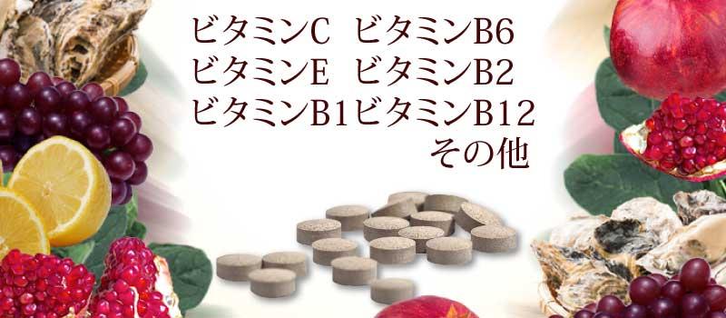 ビタミンC、ビタミンE、ビタミンB1、ビタミンB6、ビタミンB2、ビタミンB12